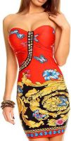 LookinggoodtodayStrapless Fashion Jurk Print